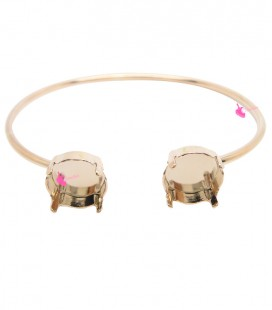 Base Bracciale Bangle con 2 Castoni per Rivoli Swarovski 12 mm Oro Rosa