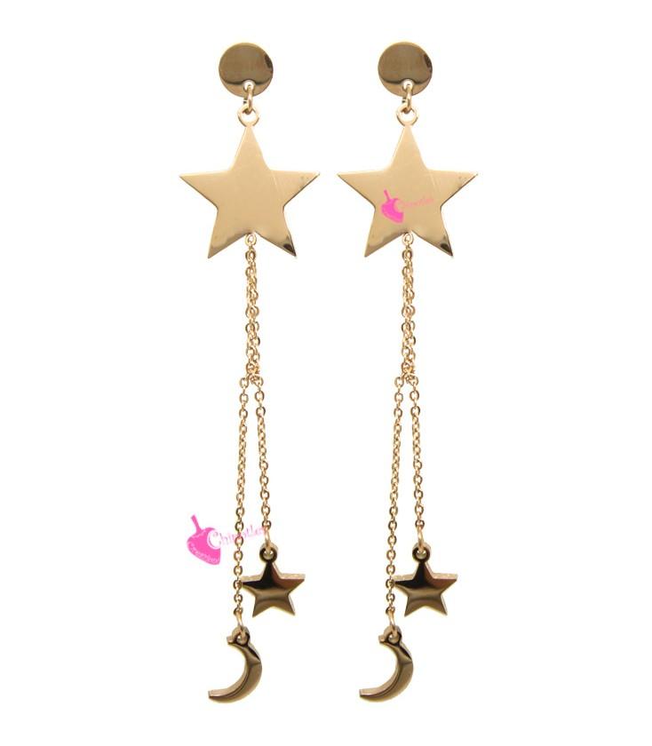 2cb60f0849c28c Orecchini Pendenti con Stelle e Luna colore Oro Rosa Acciaio Inossidabile