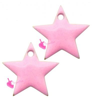 Ciondolo Stella Smaltata 11x12 mm colore Rosa