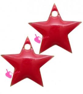 Ciondolo Stella Smaltata 11x12 mm colore Rosso