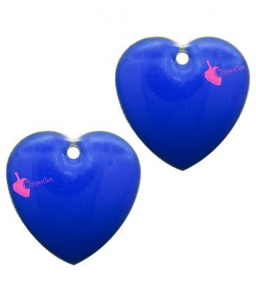 Ciondolo Cuore Smaltato 16x16 mm colore Blu