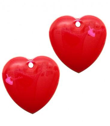 Ciondolo Cuore Smaltato 16x16 mm colore Rosso