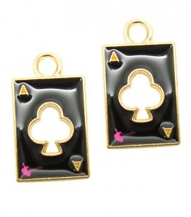 Ciondolo Carta Poker Nera Smaltata Asso di Fiori 18x10 mm colore Oro