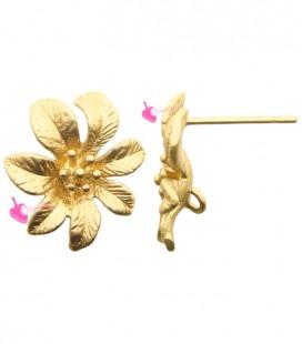 Perni per Orecchini con Fiore e Anello Oro Opaco (1 paio)