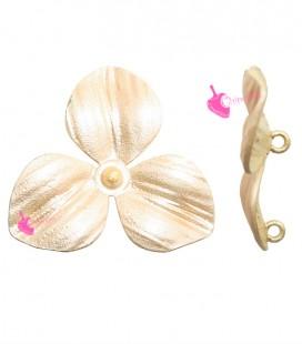 Ciondolo Fiore 3 Petali 22x24 mm Oro Rosa Opaco