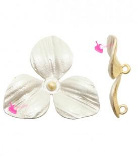 Ciondolo Fiore 3 Petali 22x24 mm Argento Opaco
