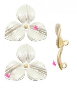Ciondolo Fiore 3 Petali 15x16 mm Argento Opaco
