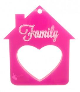 Ciondolo Casa Family con Cuore 39x35 mm Plexiglass Fucsia