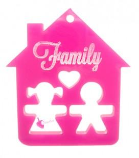 Ciondolo Casa Family con Bimbo e Bimba 39x35 mm Plexiglass Fucsia