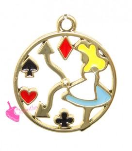 Ciondolo Medaglia Alice Semi da Poker 23x20 mm Smaltato colore Oro