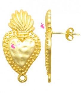 Perni per Orecchini Sacro Cuore 31x16 mm Oro Opaco (1 paio)