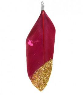 Ciondolo Piuma 57-60 mm colore Rosso Ciliegia con Glitter Oro