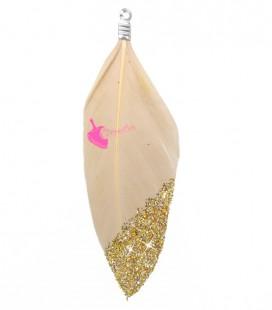 Ciondolo Piuma 57-60 mm colore Beige Seta con Glitter Oro