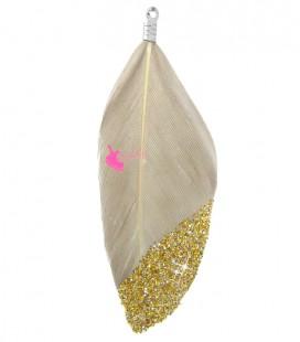 Ciondolo Piuma 57-60 mm colore Grigio Talpa con Glitter Oro
