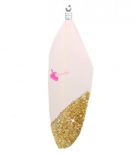 Ciondolo Piuma 57-60 mm colore Rosa Chiaro con Glitter Oro