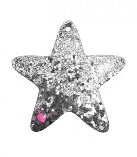 Ciondolo Stella 48x46 mm Similpelle Glitter Effetto Paillettes Argento