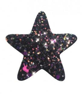 Ciondolo Stella 48x46 mm Similpelle Glitter Effetto Paillettes Nero