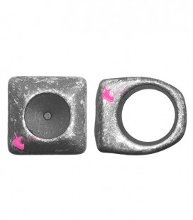Anello in Resina per Rivoli Swarovski 12 mm Acciaio Metallizzato