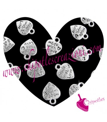 Ciondolo Cuore Made with Love 12,5x10 mm color Argento Antico (100 pezzi)