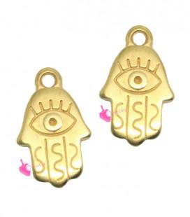 Ciondolo Mano di Fatima Hamsa con Occhio Turco 17x11 mm colore Oro
