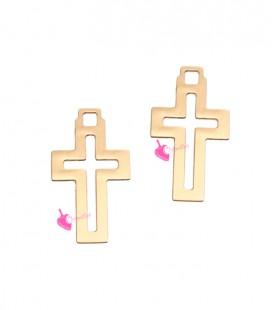 Ciondolo Croce 12x7 mm colore Oro Rosa