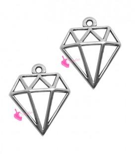Ciondolo Diamante 16x18 mm colore Argento Antico