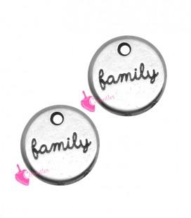 Ciondolo Medaglia Family 12 mm colore Argento Antico