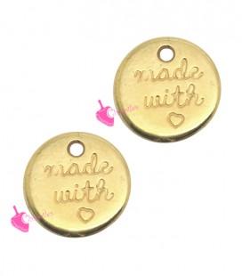 Ciondolo Medaglia Made with Love 12 mm colore Oro