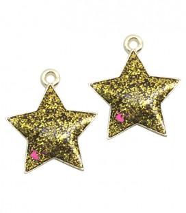 Ciondolo Stella Glitter 20x17 mm colore Oro