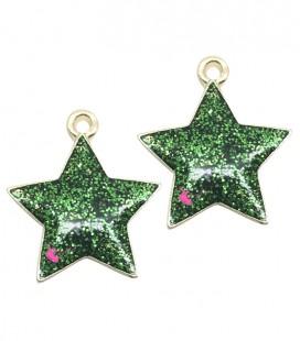 Ciondolo Stella Glitter 20x17 mm colore Verde