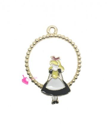 Ciondolo Alice Smaltata con Cerchio 31x22 mm colore Oro