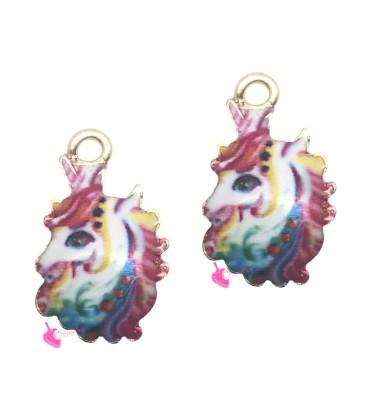 Ciondolo Unicorno Smaltato Multicolor 17x11 mm