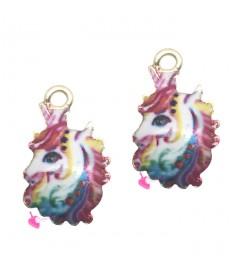nuovo prodotto 85181 03418 Ciondolo Unicorno Smaltato Multicolor 17x11 mm