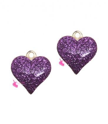 Ciondolo Cuore Glitter 17x16 mm colore Viola