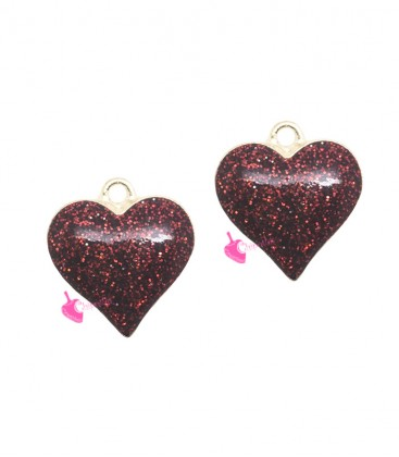 Ciondolo Cuore Glitter 17x16 mm colore Rosso