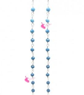 Catena Rosario con Rondelle 3 mm Mezzo Cristallo colore Azzurro (1 metro)