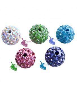 Perle Pavé con Strass 10 mm Vari Colori (10 pezzi)