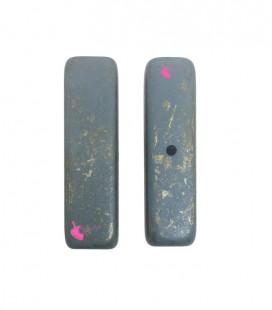 Perla Rettangolare Resina 12x42 mm Blu e Oro Metallizzato