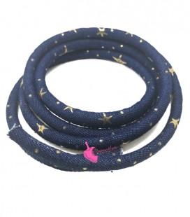 Cordoncino Tondo Jeans con Stelle Oro 6x4 mm