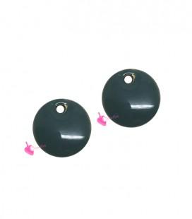 Ciondolo Disco Smaltato 8 mm Celeste