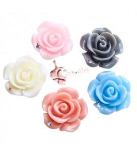 Cabochon Rosa Resina 14x6 mm