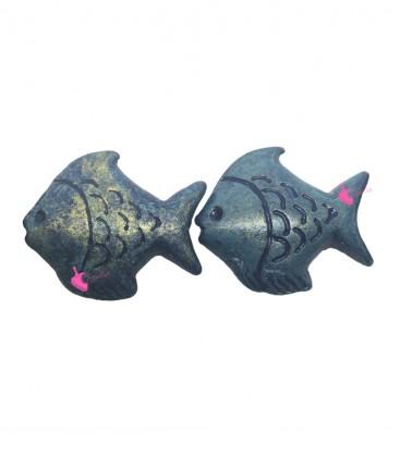 Perle Pesce Resina 30x26 mm Blu e Oro Metallizzato