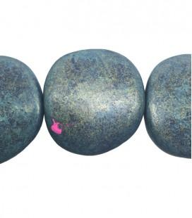 Perla Piatta Grande Resina 59x62 mm Blu e Oro Metallizzato