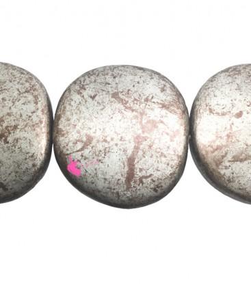Perla Piatta Grande Resina 59x62 mm Rame e Argento Metallizzato