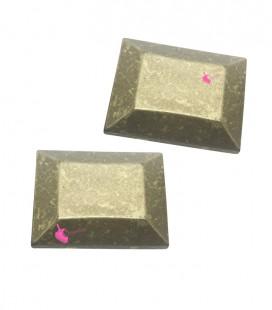 Perla Rettangolare Sfaccettata Resina 37x29 mm Oro Metallizzato