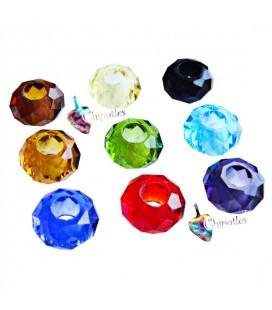 5 Perle Rondelle Miste Foro Largo 14x8 mm Mezzo Cristallo