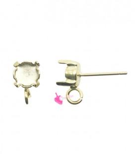 Perni per Orecchini con Castone 6 mm per Chaton SS29 e Anellino Apribile (10 pezzi)