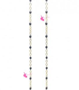 Catena Rosario Smaltata 2x1,6 mm Nera Acciaio Inossidabile Oro (49-50 cm)