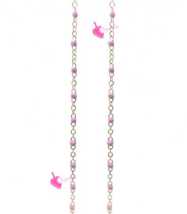 Catena Rosario Smaltata 2x1,6 mm Rosa Acciaio Inossidabile Oro (49-50 cm)