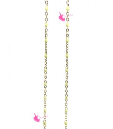Catena Rosario Smaltata 2x1,6 mm Gialla Acciaio Inossidabile Oro (49-50 cm)